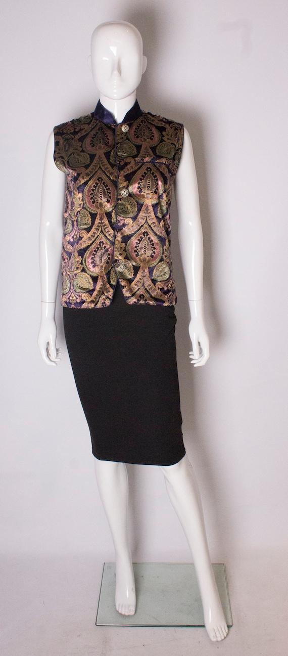 A Vintage 1990s  Silk Velvet Waistcoat