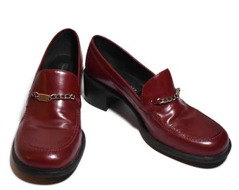 aa489be0049 Vintage 90s Tommy Hilfiger Cherry Red High Heeled Loafers
