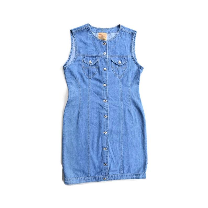 62695b3df28 Vintage Denim Button-up Dress Medium Retro Jumper Made in