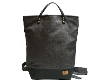 """Backpack """"Minna"""" made of washable paper and canvas * sustainable * individual * unique"""
