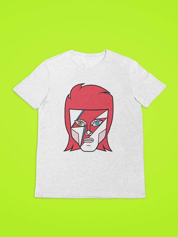 David Bowie ZIGGY STARDUST Album Art 2-Sided All Over Print Poly Cotton T-Shirt
