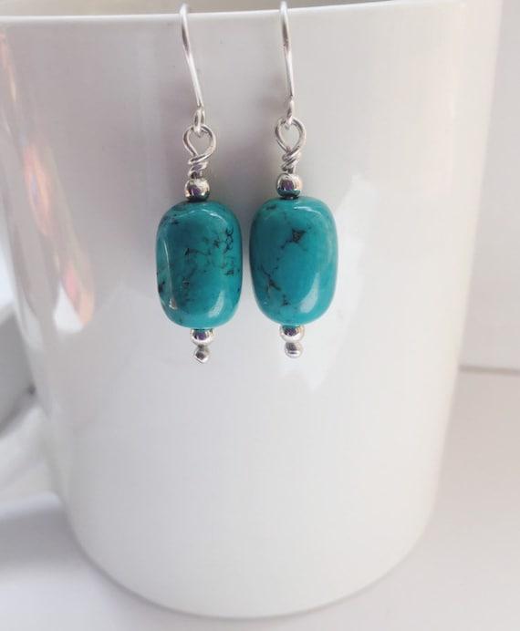 silver jewelry silver jewellery hammered sterling silver silver disc earrings gemstone earrings handmade jewelry Turquoise earrings