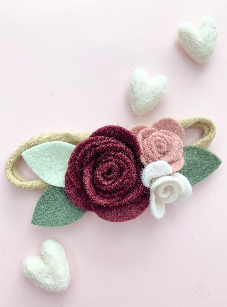 hair accessory baby shower burgandy Pink /& cream Rosebud Flower girl Felt flower rose nylon headband for baby or girls fall floral