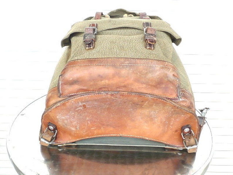 1960 Vintage Swiss Army Backpack Citybag Salt and Pepper Swiss Leather Canvas Leder Rucksack Schweizer Armee Suisse Sac a Dos Lin Leinen