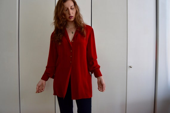 Deep Red Vintage Button-Up Blouse