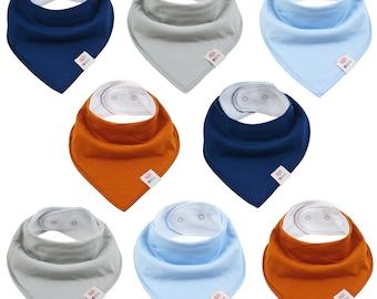 Baby monochrome triangular scarves 8 pieces cotton neck scarf with adjustable snaps bib spitting cloths Sabberlatz for toddlers