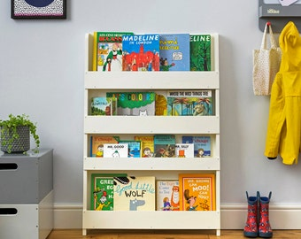 tidy books the original childrens bookcase in soft white front facing bookshelf perfect childrens book storage 115 x 77 x 7 cm - Kid Bookshelves