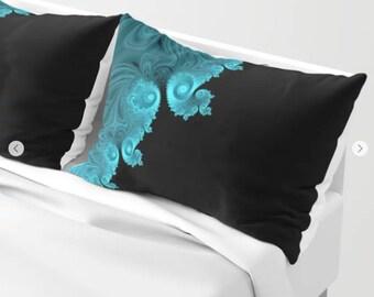 Sacred Blue Garden Mandala Throw Pillow