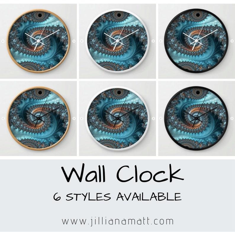 Clock Teal and Taupe Fractal Geometry Blue Wall Clock Trippy Golden Spiral Analog Clock Fractal Math Design  3 Frame Options