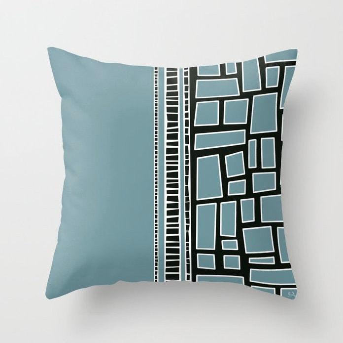 Sarcelle fumée, couverture ou couette noire et blanche, décor géométrique de chambre à coucher de modèle, 5 tailles disponibles !