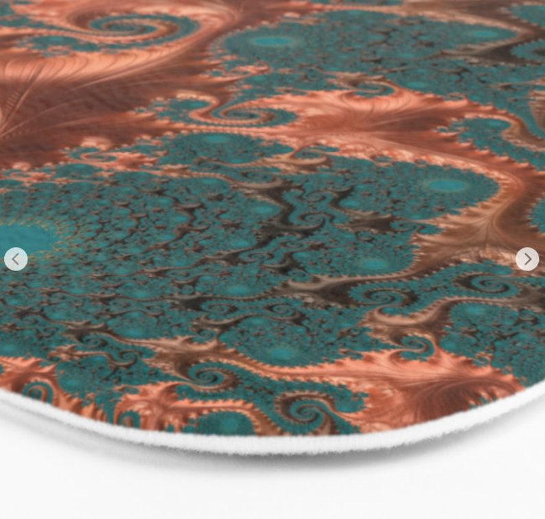 Teal Sacred Geometry Infinity Bathroom Decor,Soft Microfibre Memory Foam Floor Mat Green and Copper Fractal Bathmat