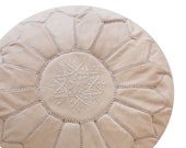 Maison Morocco - New Natural Un-dyed Handmade 100 Leather Moroccan Ottoman Pouf
