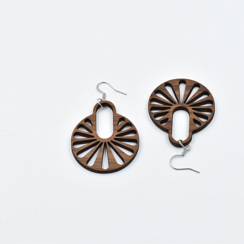 Ferris wheel earrings Hypoallergenic stainless steel earring hooks walnut wood