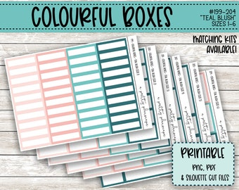 PRINTABLE Colourful Boxes - Teal Blush - Planner Stickers - Kiss Cut - Aqua, Green, Pink, Coral - Colorful Boxes - set of 6 - CUT FILES