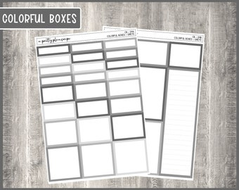 Colorful Boxes - Greys - Planner Stickers - Kiss Cut Stickers - Colorful Boxes - 6 Sizes - Choose From 2 Sheets