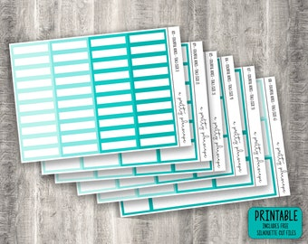 PRINTABLE Colourful Boxes - Teals - Planner Stickers - Kiss Cut - Green - Blue - Aqua - Turquoise - set of 6 - CUT FILES