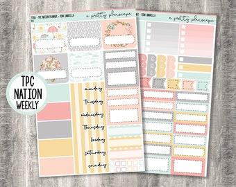 "Weekly Sticker Kit - ""Pink Umbrella"" - Spring - Rain - Clouds - Pastel - Weekly Kit - TPC Nation Planner - Academic - Teacher - #358"