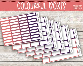 Colorful Boxes - Sunrise -  Planner Stickers - Kiss Cut Stickers - Pink, Purple, Peach, Plum - Colourful Boxes - Choose From 6 Sizes