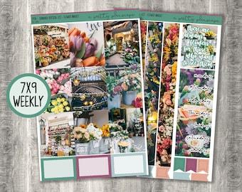 "Weekly Sticker Kit - ""Flower Market"" - Photo Kit - Flowers - Floral - Weekly Kit - Standard Vertical 7x9 A5 Wide Life Planner - #295"