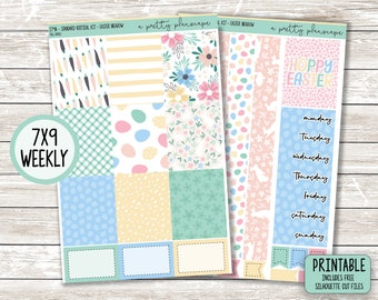 """PRINTABLE Weekly Sticker Kit - """"Easter Meadow"""" - Green - Yellow - Pink - Blue - Weekly Kit - Standard Vertical 7x9 A5 Wide - Cut Files"""