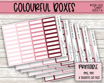 PRINTABLE Colourful Boxes - Candy - Planner Stickers - Kiss Cut - Pink, Blush, Rose - Colorful Boxes - set of 6 - CUT FILES