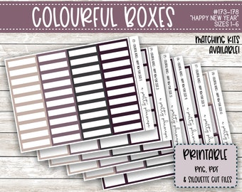 PRINTABLE Colourful Boxes - Happy New Year - Planner Stickers - Kiss Cut - Purple Plum Grey Tan - Colorful Boxes - set of 6 - CUT FILES