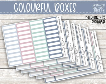 Colorful Boxes - Cozy Day - Planner Stickers - Kiss Cut Stickers - Blue Green Pink - Winter - Spring - Colorful Boxes - Choose From 6 Sizes
