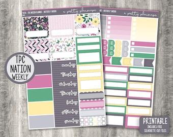 "PRINTABLE TPC Nation Planner Weekly Sticker Kit - ""Butterfly Garden"" - Spring - Green - Pink - Grey - Academic - Teacher - Cut Files"