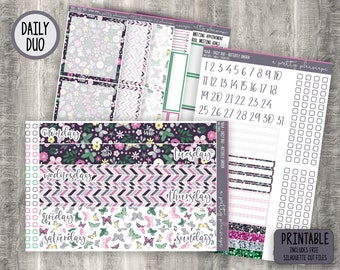 """PRINTABLE - Daily Duo Weekly Sticker Kit - """"May Flowers"""" - Spring - Green - Blue - Yellow - EC - Passion Planner - Cut Files"""