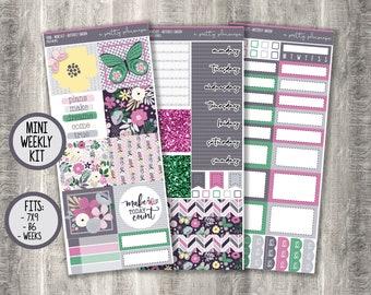 "Weekly Sticker Kit - ""Butterfly Garden"" - Spring - Green - Pink - Grey - B6 - A&N Weeks - PP Weeks - 7x9 - Mini Kit - #408"