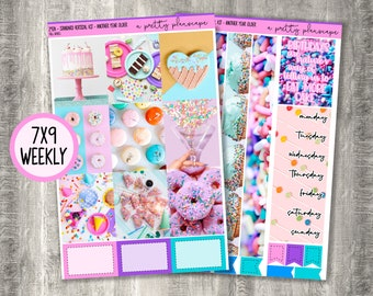 """Weekly Sticker Kit - """"Another Year Older"""" - Photo Kit - Confetti - Birthday - Weekly Kit - Standard Vertical 7x9 A5 Wide Life Planner - #292"""