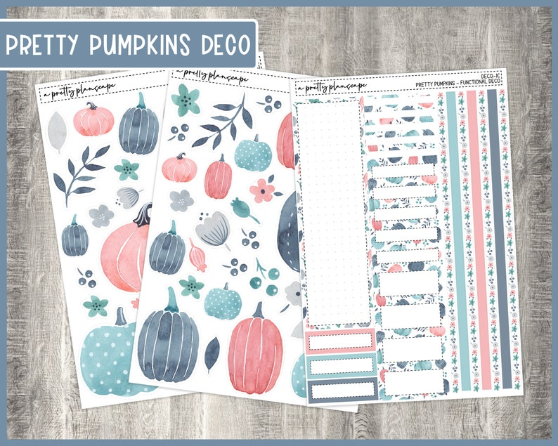 Fall Pumpkin Deco stickers & boxes  Florals Blue Pink Grey image 0