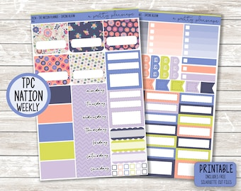 """PRINTABLE Weekly Sticker Kit - """"Spring Bloom"""" - Blue - Coral - Green - Spring - Floral - TPC Nation Planner - Academic - Teacher - Cut Files"""