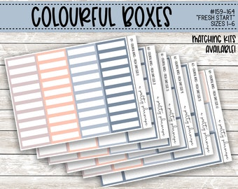 Colorful Boxes - Fresh Start -  Planner Stickers - Kiss Cut Stickers - Blue, Grey, Coral - Colorful Boxes - Choose From 6 Sizes