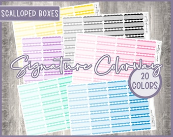 Signature Colorway, SCW002, Scalloped Boxes, Planner Stickers, Functional Stickers, Multi Color, 20 Colors