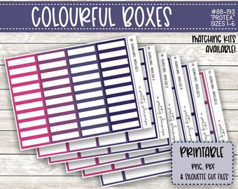 PRINTABLE Colourful Boxes - Protea Florals - Planner Stickers - Kiss Cut - Purple Pink Lilac - Colorful Boxes - set of 6 - CUT FILES