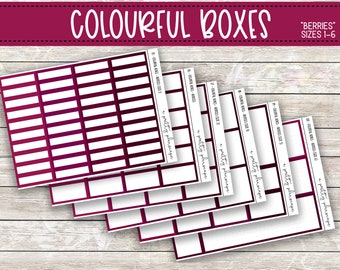 Colorful Boxes - Berries -  Planner Stickers - Kiss Cut Stickers - Pink, Red, Plum, Berry, Wine - Colorful Boxes - Choose From 6 Sizes