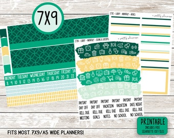 PRINTABLE Monthly Sticker Kit - Standard A5 Wide, 7x9 Planner - Happy Planner - Green - Yellow - Spring - St. Patricks - Lucky - Any Month