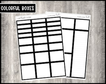Colorful Boxes - Black - Planner Stickers - Kiss Cut Stickers - Colorful Boxes - 6 Sizes - Choose From 2 Sheets