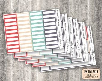 PRINTABLE Colourful Boxes - Retro Vibes - Planner Stickers - Kiss Cut - Blue - Red - Green - 70s - 1970s - set of 6 - CUT FILES