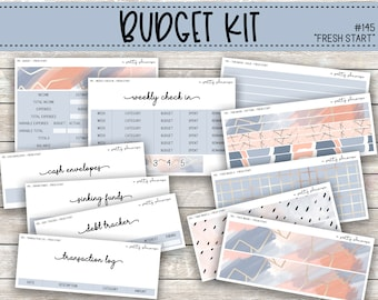CLEARANCE Fresh Start Budget Sticker Kit - Standard Vertical Planner - Cash Envelopes, Sinking Funds, Weekly Check In, New Year - #145