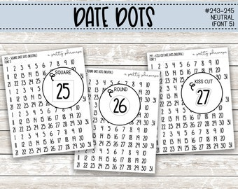 Date Dot Stickers - Planner Stickers - Round Date Dots - Square Date Dots - Kiss Cut Date Dots #243-245