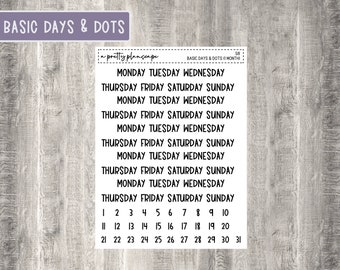 Basic Date Covers & Date Dots - One Month - Days of the Week - Kiss Cut Stickers - Scripts - Planner Stickers - #S8