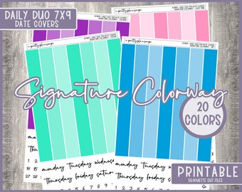 PRINTABLE Signature Colorway, SCW011, Daily Duo 7x9 Date Covers, Date Dots, Functional Stickers, Planner Stickers, Multi Color, 20 Colors