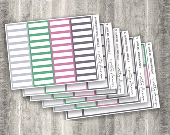 Colorful Boxes - Butterfly Garden - Planner Stickers - Kiss Cut Stickers - Spring - Green Pink Grey - Colorful Boxes - Choose From 6 Sizes