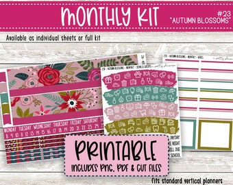 PRINTABLE Autumn Blossoms Monthly Sticker Kit - Standard A5 Wide, 7x9 Planner - Happy Planner - Fall - Autumn - Floral - Pink Green Fuschia
