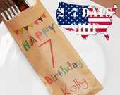 Personalized Happy Birthday Silverware Holder Bags, Custom Name Utensil Holders For Birhday or Barbeque Party, Shower Favor Bag