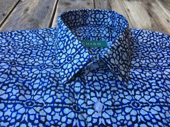 Nouveau ChisoShirts bleu, blanc et vert clair chemise à en motifs en à taille m: manches longues. ee448a