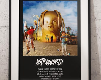 c2f9491bfb7a Astroworld Travis Scott Poster - Rap Studio Album Music Art Cover Print -  American Hip Hop Artist- Rapper