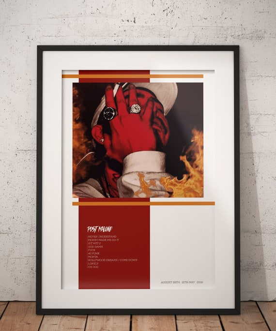 POST MALONE Album Cover Print - August 26th Wall Art, Post Malone Album  Wall Art Music wall art